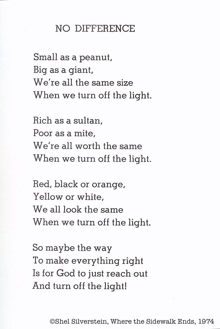 shel silverstein | Shel Silverstein, No Difference | I'm not in anyway religious but the idea of this is amazing....