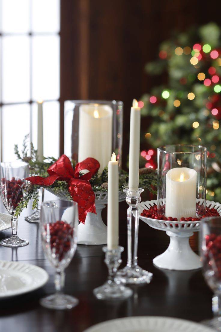 Easy Elegant Flameless Candle Christmas Centerpiece Ideas Candle Decor Christmas Candle Decorations Christmas Centerpieces