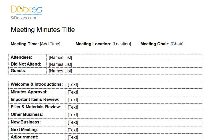 standard format of minutes of meeting