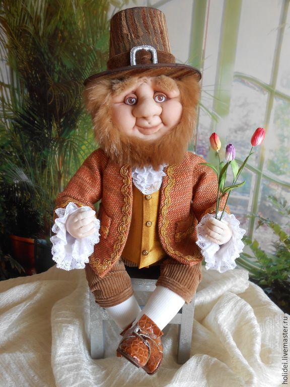 Купить Гном Голландец (текстильная кукла) - коричневый, гном, гномик, гномы, гномики, человечек, человечки