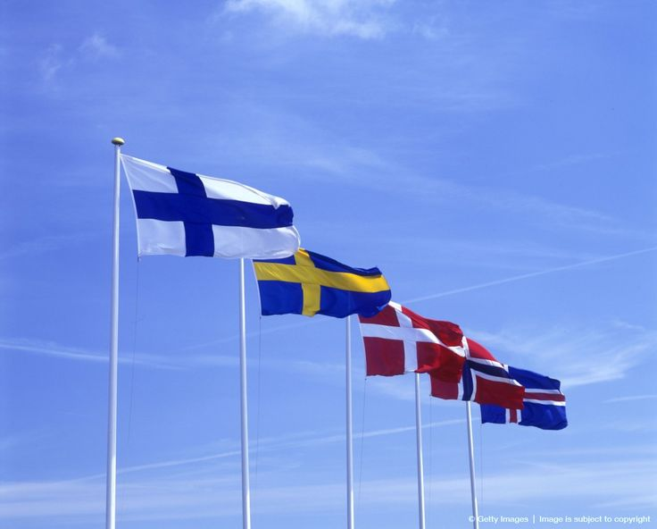 Scandinavian flags: Finland, Sweden, Denmark, Norway, Iceland.