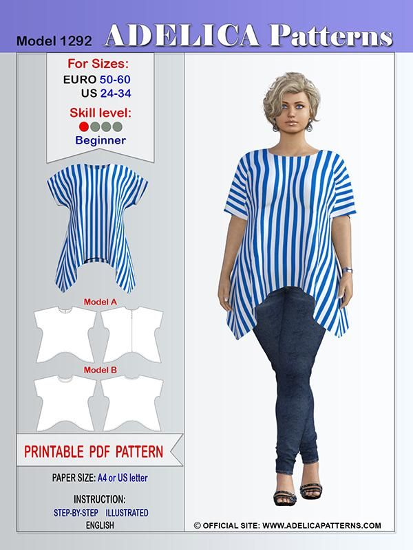 Adelica pattern 1292 Plus size sewing pattern tunic