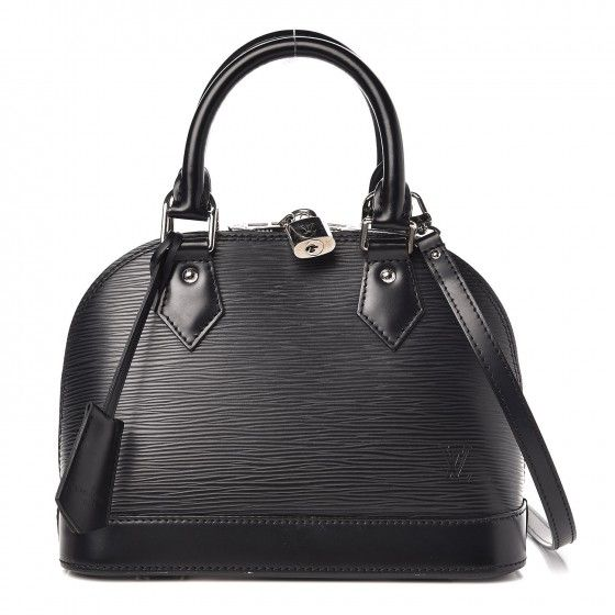 44ade655bded This is an authentic LOUIS VUITTON Epi Alma BB in Black. This stylish tote  is crafted of Louis Vuitton signature textured epi leather in black.