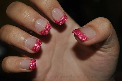 Sparkly pink tip nails...love