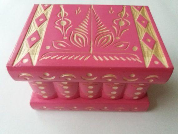 New beautiful barbie pink,handmade wooden puzzle box,secret box,magic box,jewelry box,brain teaser,storage box,flower designe box