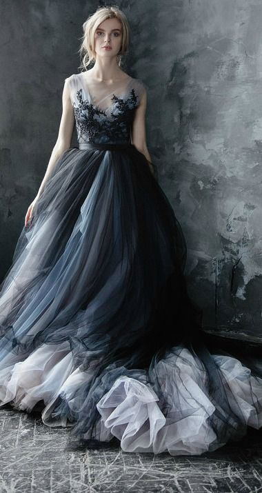 Calypso Nightfall // Volumetric black tulle gown