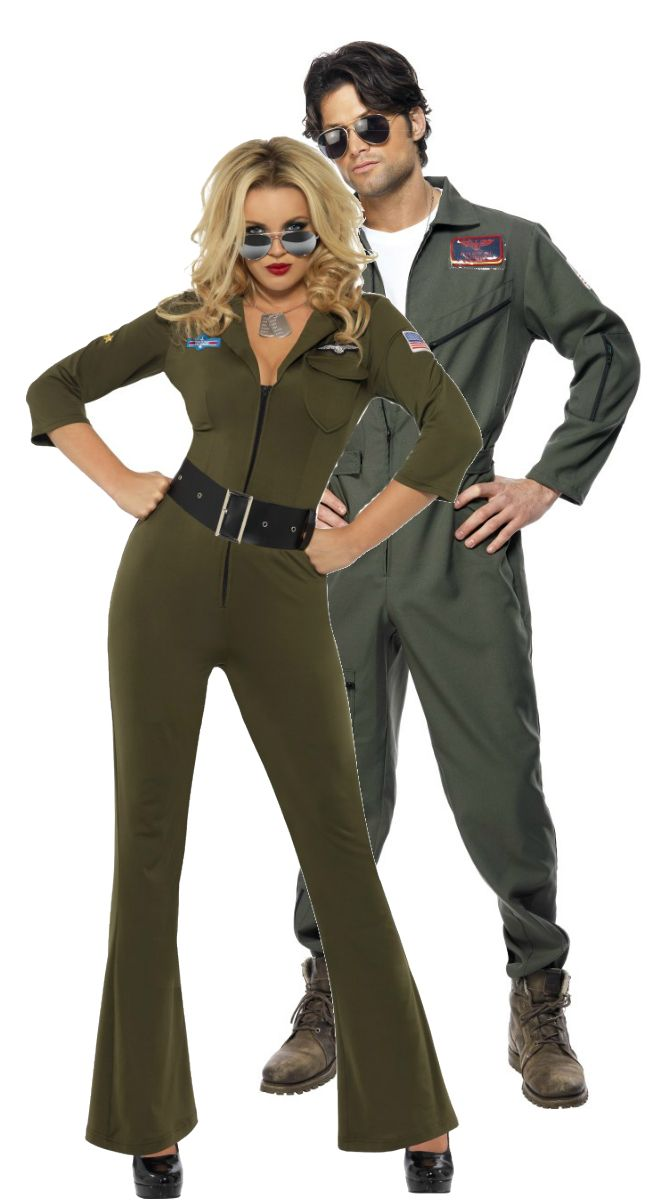 Top Gun Couple | Fancy Dress Forever. Ideal for Film themes as well as 80s parties! Both these costumes are Licensed Top Gun products and come with a choice of Name Badges!
