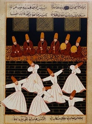 Sufi whirling or spinning, a twirling meditation that originated among the Turkish Sufis, it is still practiced by the Dervishes of the Mevlevi order.