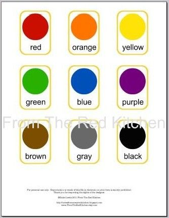 Colors Flashcards PDF (11 basic colors including white and black) - I would love to make my own version - either felt or paper or fabric or buttons...