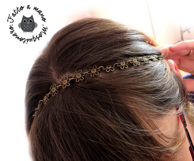 Fascia Fascetta cerchietto donna capelli Fiori Vintage colore bronzo anticato, by «:::Mosquitonero Shop:::», 6,90 € su misshobby.com