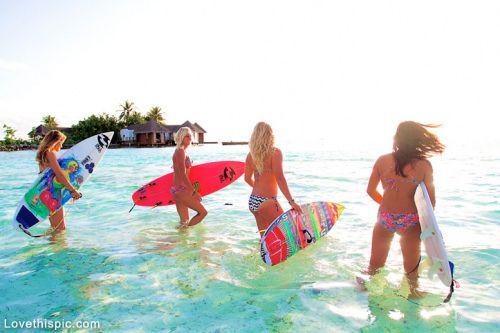 Surfer Girls summer beach ocean girls surf swim surfboard