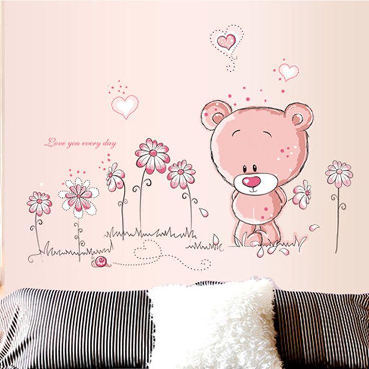 Simple Wandtattoo Wandsticker Aufkleber Tier Kinder pink rosa Wald B r Kinderzimmer