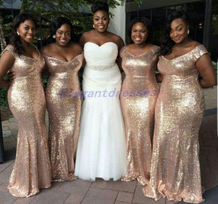 Beautiful Gold Wedding Dresses: Beautiful Rose Gold Bridesmaid Dresses. Love The Variation