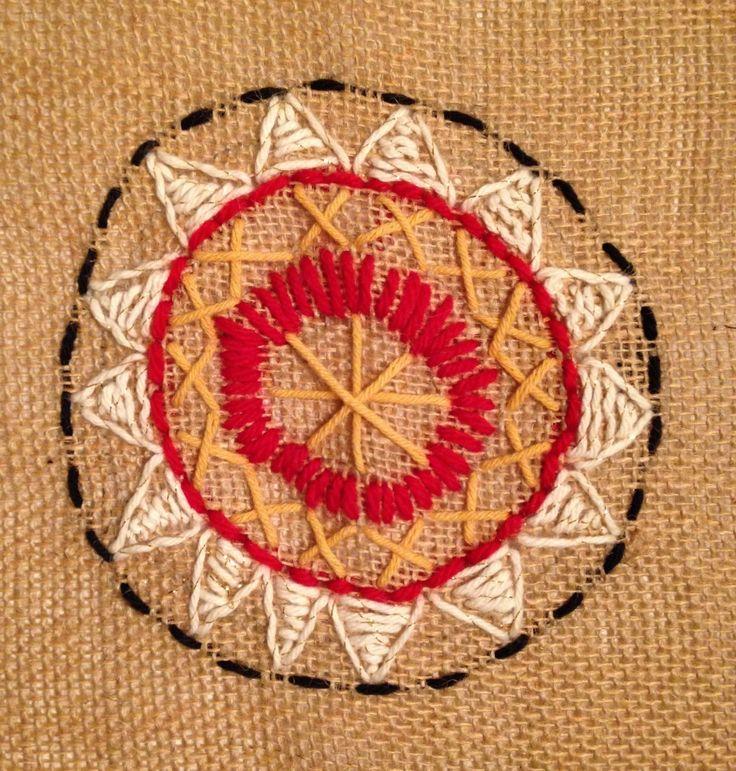 Burlap Needlepoint Mandala | TeachKidsArt