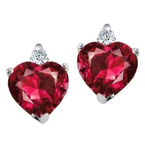3.04 cttw Tommaso Design(tm) Heart Shape Created Ruby and Genuine Diamonds Earring Studs in 14 kt White Gold: Diamonds Earrings, Create Ruby, Heart Shape, Earrings Studs, Genuine Diamonds, White Gold, Tommaso Design Tm, Cttw Tommaso, Shape Create