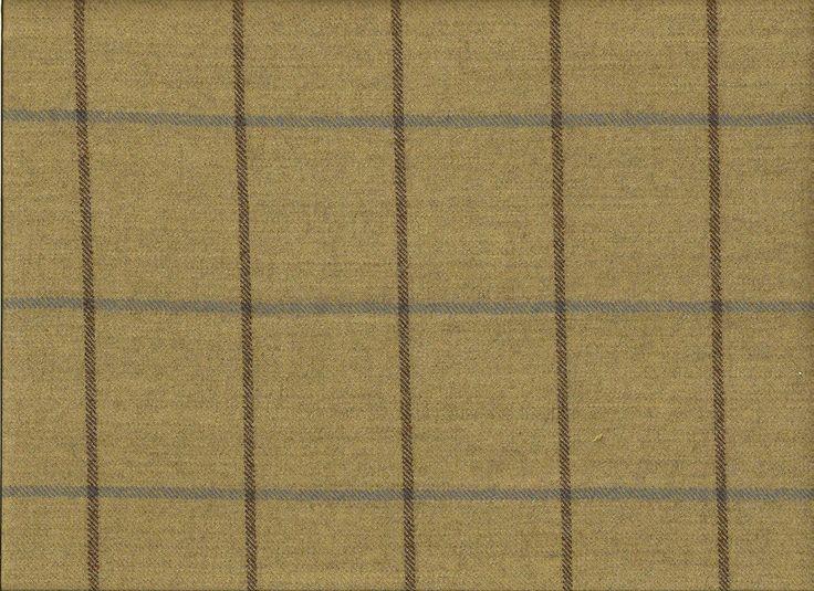 Soft Woven  English  Check Plaid Wool Khaki Brown Blue Upholstery Drapery Fabric