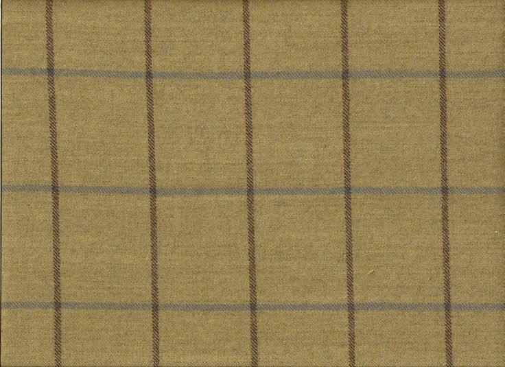 Soft Woven  English  Check Plaid Wool Khaki Brown Blue Upholstery Drapery Fabric