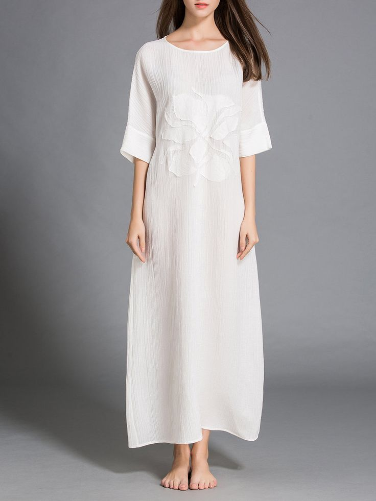 White Statement A-line Maxi Dress