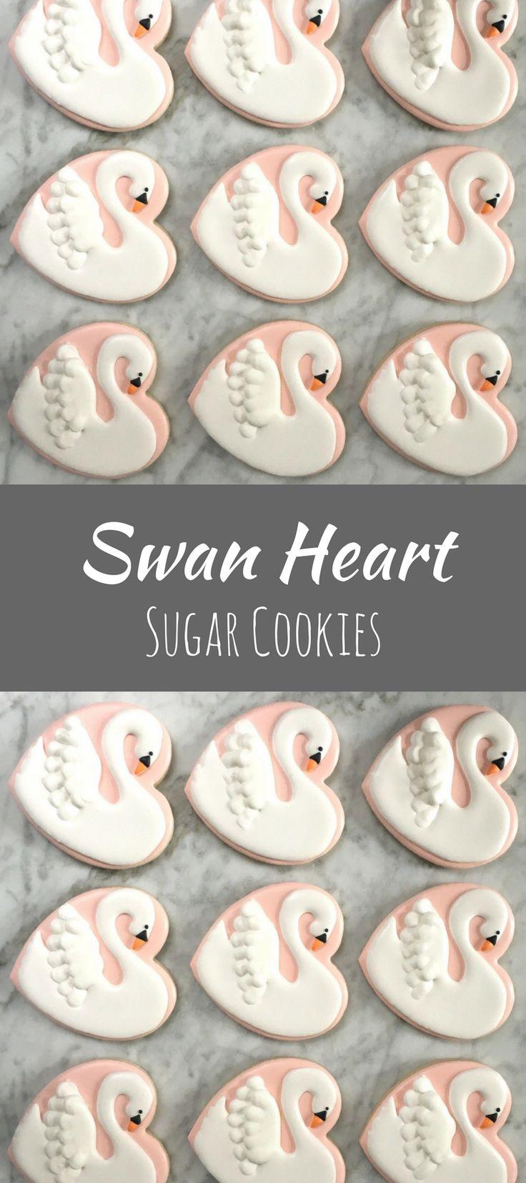 Swan Heart Decorated Cookies - One Dozen #affiliate