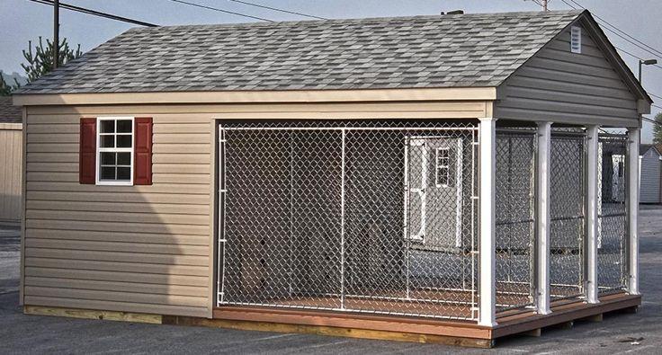 11 best dog kennels images on pinterest dog kennels for Dog kennel shed combo plans