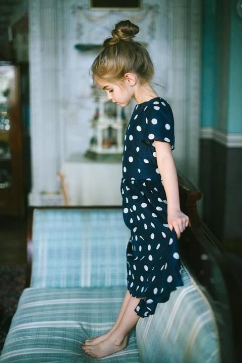 blue dress with white dots