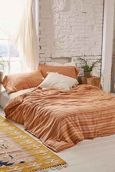 URBAN OUTFITTERS ECHO BURNT ORANGE SPACE DYRD DUVET COVER QUEEN / FULL #ECHO