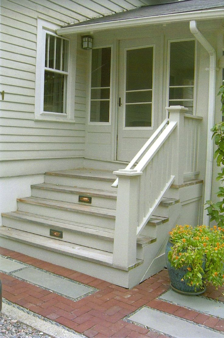 7 best bungalow stair railings images on pinterest front for Front deck designs bungalow