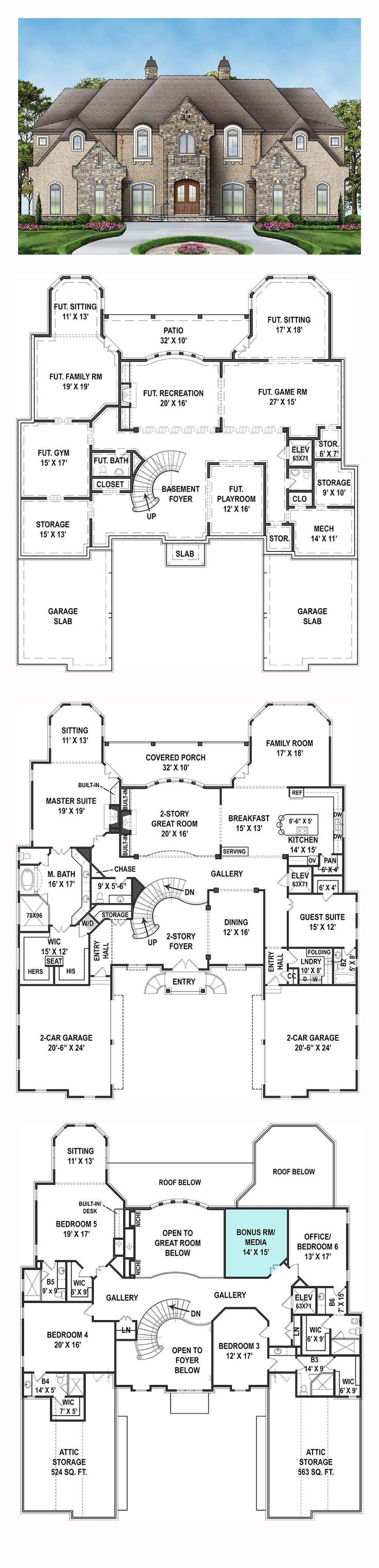 New House Plan 72171 | Total Living Area: 6072 sq. ft., 6 bedrooms and 6.5 bathrooms. #newhomeplan