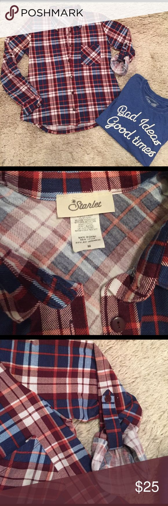 Plaid Button Up & Graphic Tee Set $25 Super soft, both size M. Worn once. $25 for both. Tops Button Down Shirts