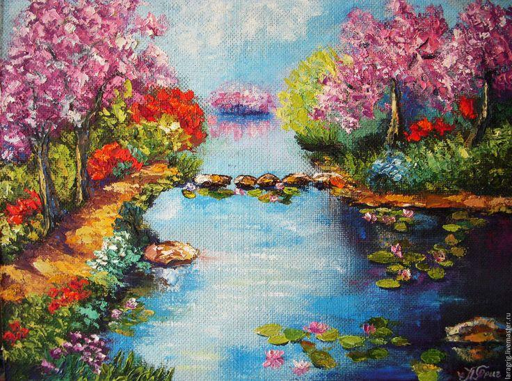 """Купить """"Пруд цветущей Сакуры""""-художник Лариса Григ - розовый, сакура, пруд, лотосы"""