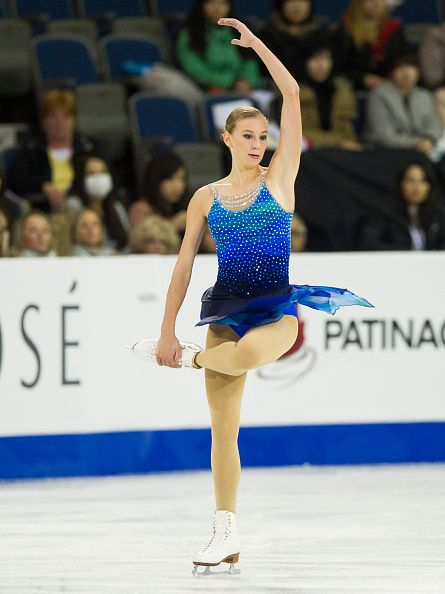 Polina Edmunds of the United States skates while competing during the Ladies Short Program on day one of Skate Canada International ISU Grand Prix of...