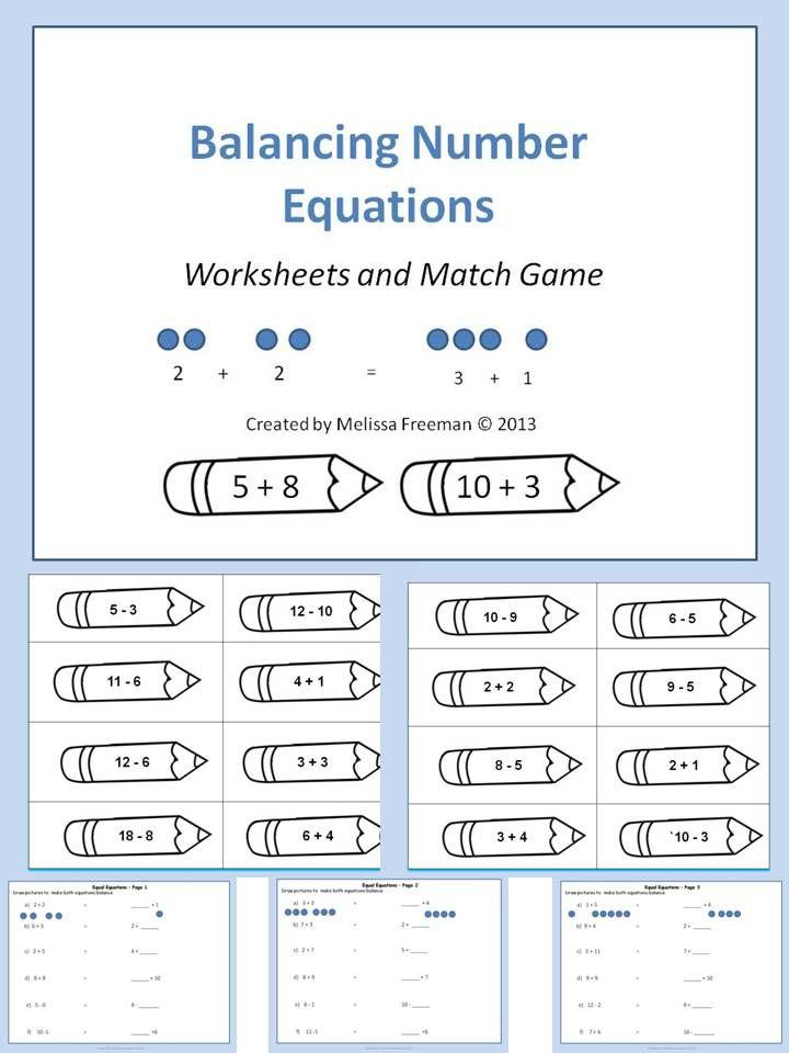 Balancing equations worksheet 1st grade
