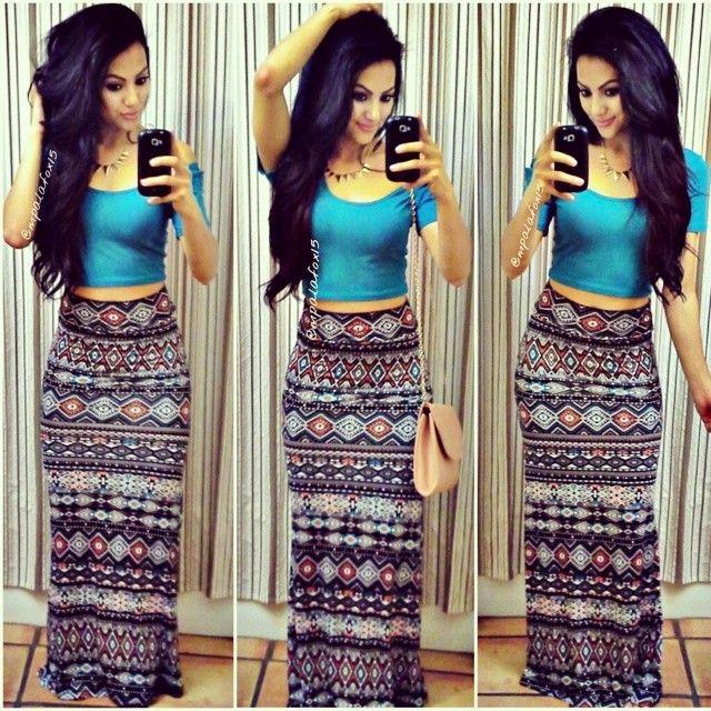 Maxi skirt crop top