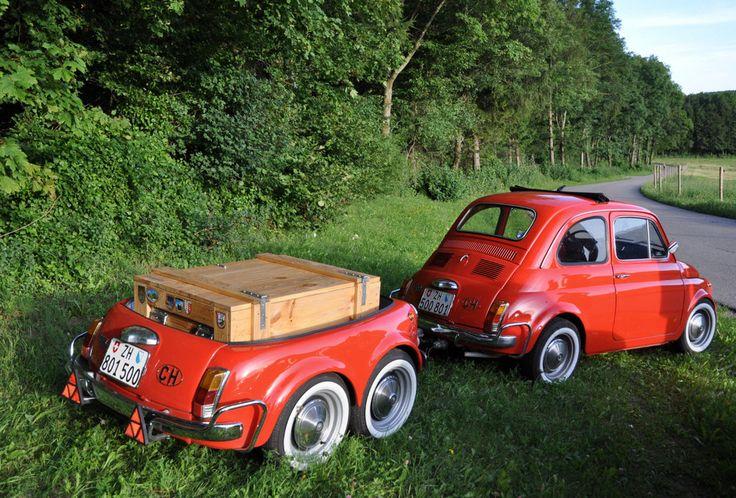 Fiat 500 with cutte Trailer for travels through Italy ...repinned für Gewinner!  - jetzt gratis Erfolgsratgeber sichern www.ratsucher.de