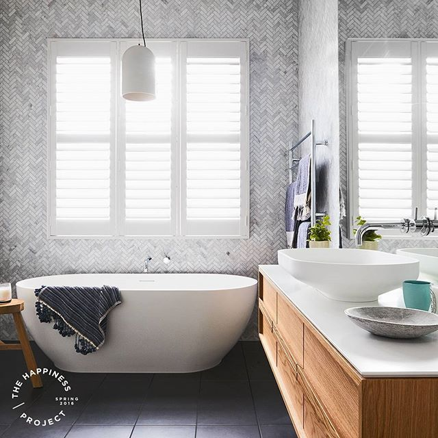 The bathroom that @deaanddarren is one of our favourites to date. The tiling detail is beautiful and the combination of products is stunning. The accents of timber add a touch of warmth and tactility in this light and bright space. ISSY vanity and Omvivo basin kicking goals again!