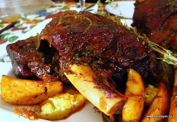 Slow-Roasted Leg of Lamb (The Greek Way) - Kalofagas - Greek Food & Beyond. This is the BEST leg of lamb I've ever cooked. Lovely and garlicky and moist and filled with flavour. Definitely a winner! Make sure to bake it in the right size container so there's not too much liquid.
