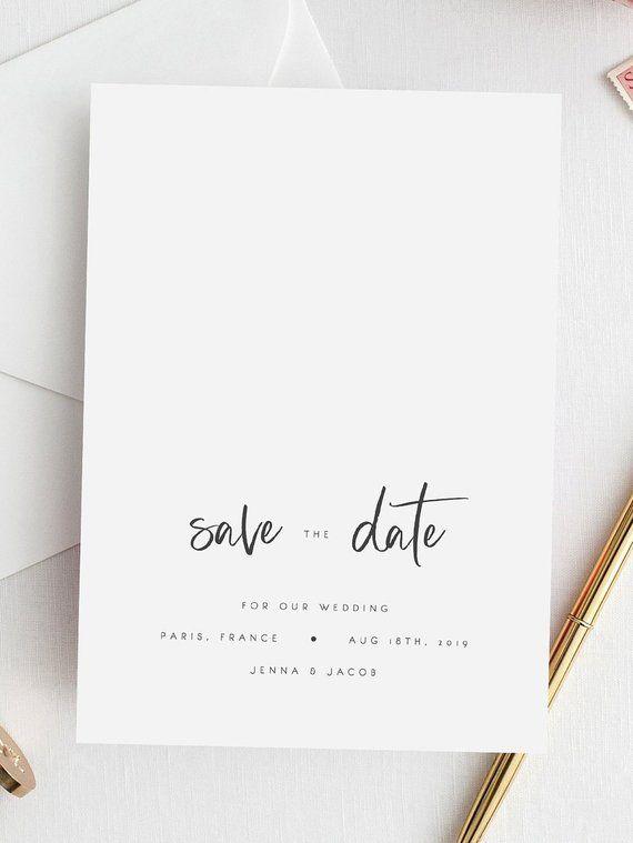 Plantilla imprimible de Save the Date Editable Save the Date Card Caligrafía moderna Plantilla minimalista de boda Descarga instantánea Templett DIY 13   – Stationery | OH YES CONCEPT WEDDINGS