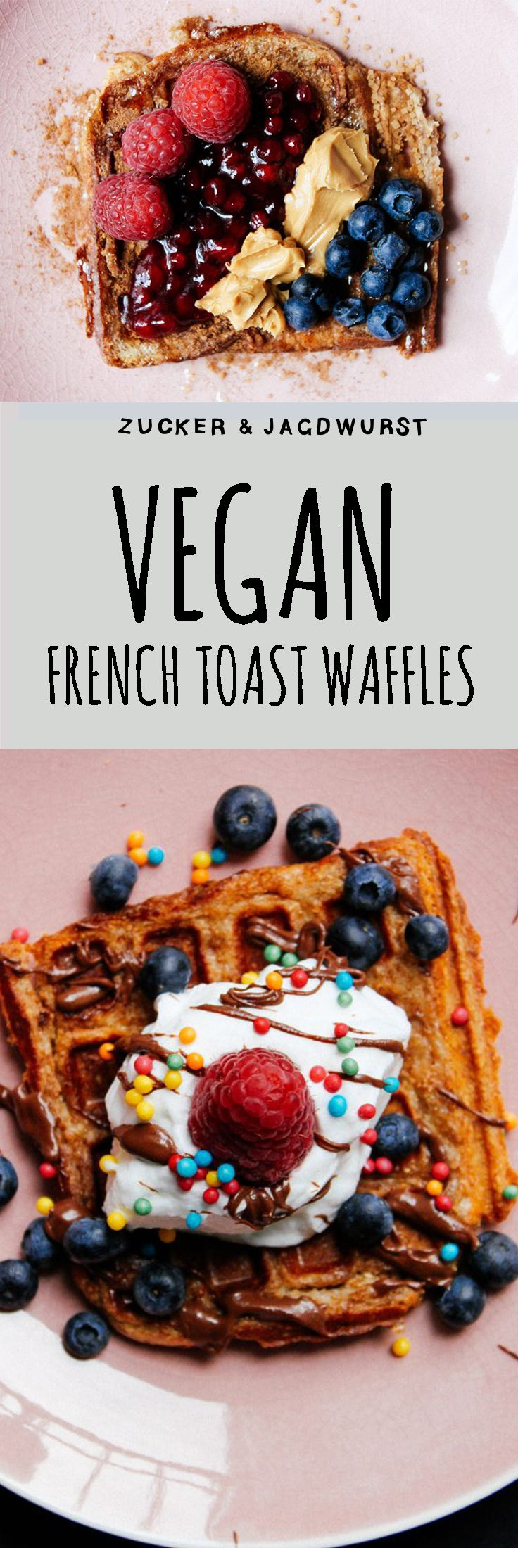 Time for vegan Breakfast: Vegan French Toast Waffles with cream, berries and sprinkles
