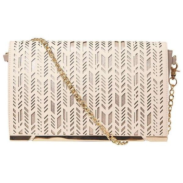 Dorothy Perkins *LYDC Nude Laser Cut Clutch Bag ($55) ❤ liked on Polyvore featuring bags, handbags, clutches, white, nude clutches, pu handbags, white purse, dorothy perkins and white clutches