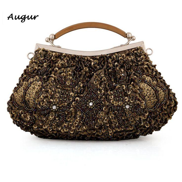 Women Vintage Beaded Evening Bag Wedding Party Purse Fashion Luxury  HandBags Brand Designer Jewelry Bag