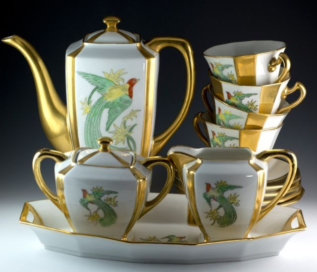 Vintage 14 Pcs H C Schlaggenwald PA Arzberg Tea Pot Set Czechoslovakia Bavaria   eBay