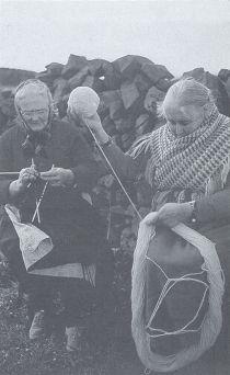 The Aran Islands, Ireland. Vintage photo of Women knitting.
