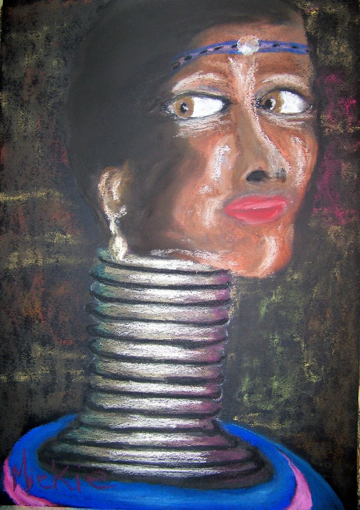 Ndebele Woman.  Soft pastel on A2 paper.  I was inspired to paint this woman by the proud way she carries herself and by her strong features.  Add to that the colorfulness of her traditional garments and I was sold.
