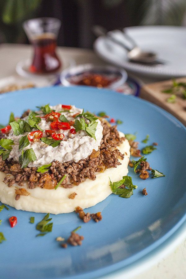 Sultan's Delight - Turkish meal of eggplant, minced beef and Greek yogurt with potatoes.