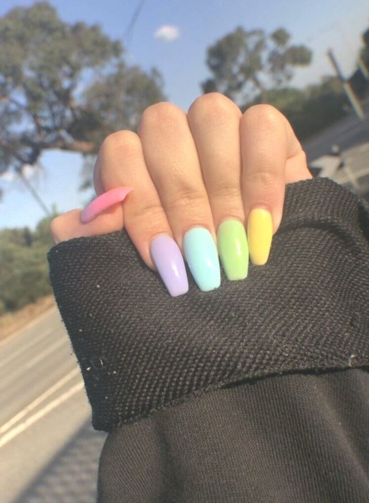 Acrylic Nails Pastel These beautiful hand painted press on nails are available i…