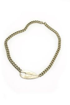 Yellow Bronze ID Tag Necklace