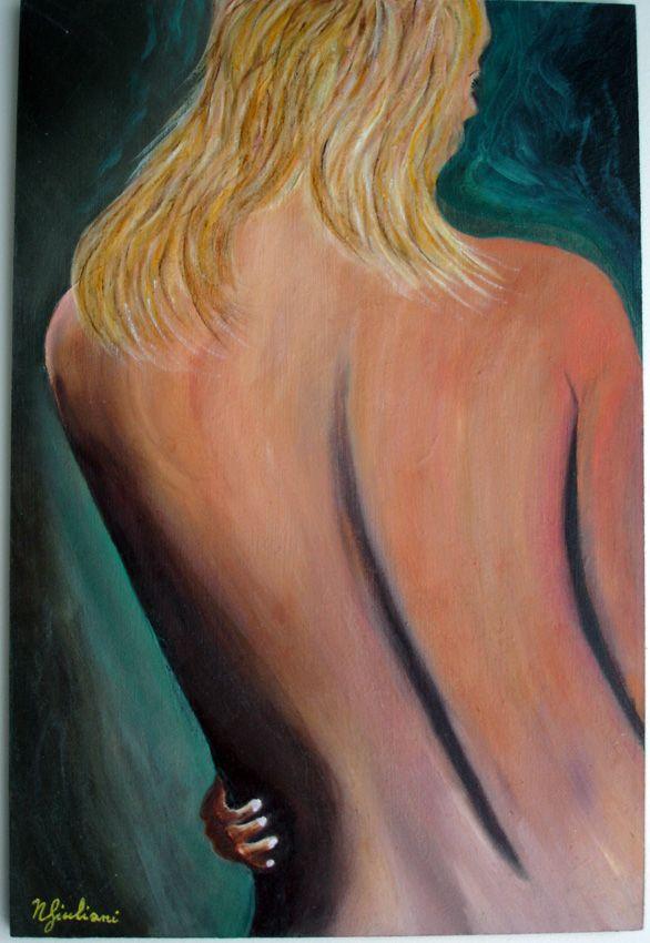 Nudo donna: colori ad olio su legno