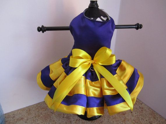 Dog Dress XS Purple and Yellow By Nina's by NinasCoutureCloset