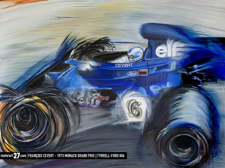 "A birthday tribute to François. ""Cevert"" François Cevert - Tyrrell-Ford 006 Monaco Grand Prix 1973 30x40"" oil on canvas.  ©Alex Wakefield - Motorart 27 #F1 #Formula1 #FormulaOne #F1Art #OriginalArt #Tyrrell #JackieStewart #art #cars #paper #originalart #F1art #motorsportart #racingart #CarsDesign #GillesVilleneuve #RacingPaintings #Posts #MotorsRacing #F1Artworks #monacograndprix #car #motor #motorsport #racing #racingart #art"