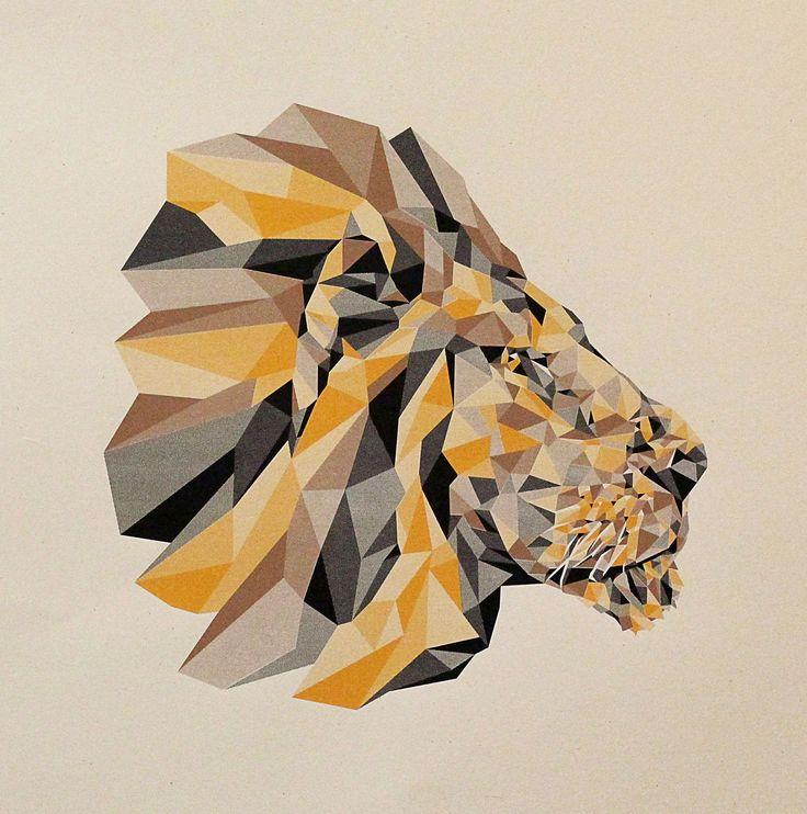 Geometric Lion Screenprint. I like it because it's geometrical and it's a lion. Meow.